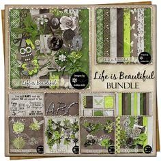 Life is Beautiful {Bundle} Embossed Paper, Free Digital Scrapbooking, Vintage Ephemera, Journal Cards, Earth Tones, Flourish, Word Art, Life Is Beautiful, Graffiti
