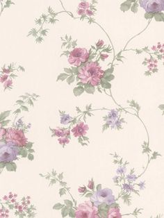 Off White 487-68848 Isabella Rose Trail Wallpaper By Brewster