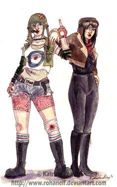 Tank Girl vs Jet Girl by RohanElf on DeviantArt Girl Costumes, Halloween Costumes, Halloween Ideas, Costume Ideas, Happy Halloween, Tank Girl Cosplay, Tank Girl Comic, Jet Girl, Post Apocalyptic Fashion