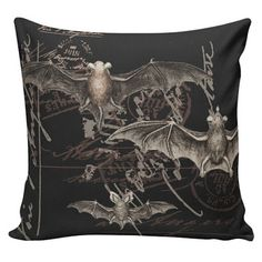 Items similar to Halloween Buffon French Bats on Postmarks Burlap Cotton Throw Pillow Cover, inches on Etsy