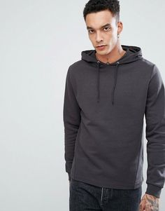 ASOS Hoodie with Side Panels in Washed Black - Black