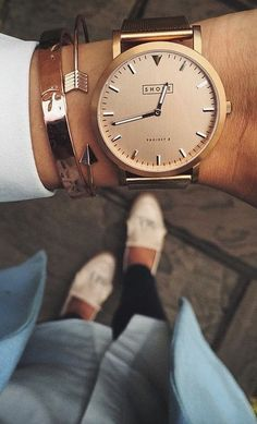 This Shore Project Rose gold watch is perfect for stacking with your other gold bracelets and cuffs.