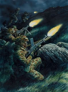 Falklands - The Royal Marines 42 Commando assaulting the dug-in Argentine positions on Mount Harriet