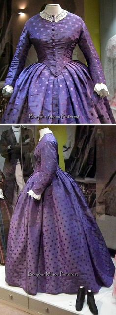 from an exhibit at the Museum of Costume & Lace…amazing colour retention! Antique Clothing, Historical Clothing, Vintage Gowns, Vintage Outfits, Edwardian Fashion, Vintage Fashion, Civil War Fashion, Civil War Dress, 19th Century Fashion