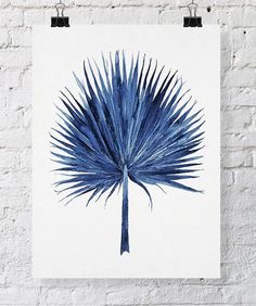 Fan Palm Watercolor in Denim Blue Print 11x14 - Watercolor Print - Tropical Wall Art (+ lots of other beautiful prints)