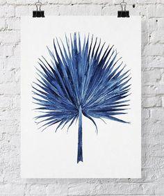 Fan Palm Watercolor in Denim Blue Print 11x14 - Watercolor Print - Tropical Wall Art (+ lots of other beautiful prints)