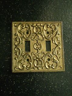 Vintage Ornate Double Toggle Light  Switch Plate by Bizzard