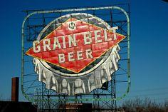 Grain Belt Beer sign, overlooking Hennepin Avenue bridge over Mississippi River, Minneapolis.