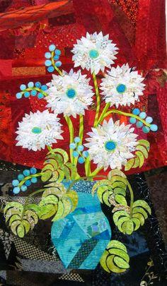 Flower quilt by Mary Keasler | fiberliscious