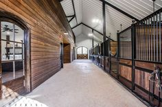 Custom Barns | Luxury Horse Arenas Barn Stalls, Horse Stalls, Dream Stables, Dream Barn, Luxury Horse Barns, Equestrian Stables, Barn Layout, Horse Barn Designs, Horse Arena