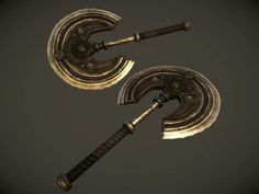 Dwemer Twin Fighting Battle Axes