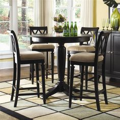 Camden - Dark Bar Height Pedestal Table with Stools by American Drew