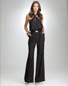 Halter Neck Wide-Leg Jumpsuit from bebe. I have no where to wear this, but it's cute!