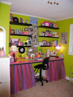 "Teen Girls Bedroom!, Girls bedroom with lots of ""bright"" colors that somehow work even though a lot is going on.  We made & painted the bed,..."