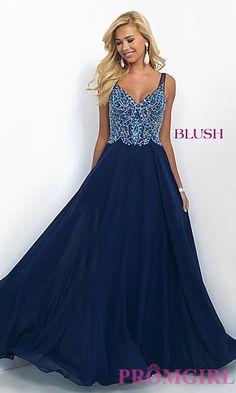 Long Classic Chiffon V-Neck Blush Prom Dress at PromGirl.com