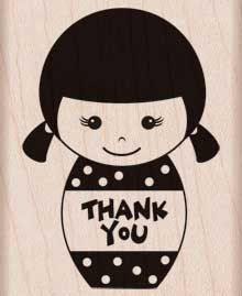 Thank You Girl (Kokeshi) Woodblock Craft Stamp (F5641)