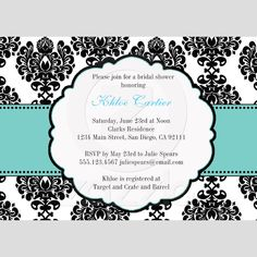 Custom Blue Bridal Shower Invitations Damask created by seasidepapercompany. This invitation design is available on many paper types and is completely custom printed. Wedding Shower Invitations, Engagement Party Invitations, Invites, Engagement Parties, Dinner Invitations, Engagement Ideas, Diy Invitations, Invitation Templates, Tiffany's Bridal