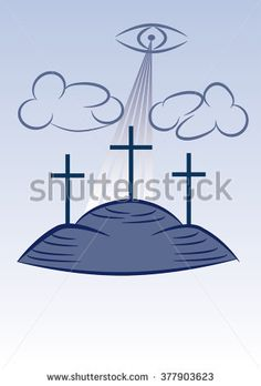 Three crosses on the Calvary with sunlight, clouds and the eye of God.  - stock vector