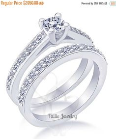 On Carats Diamond Engagement Rings Matching Wedding Bridal Ring Gold Womens Bands Engageme