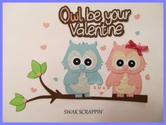 SOLD Owl Valentines Day premade Scrapbook Paper Pieced by SWAKScrappin