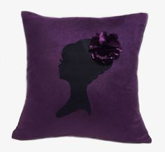 Romantic Cameo Plum And Black Pillow Cover. Feminine Girls Room Decor. Pretty Floral Dark Purple Cushion Cover by RaineStyleHome on Etsy https://www.etsy.com/listing/242968757/romantic-cameo-plum-and-black-pillow
