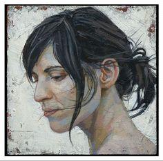 Danile Barkley Marie-Helene II 2010 acrylic on canvas/acrylique sur toile 20 x 20 cm, 8 x Portraits, Portrait Art, Canadian Painters, Art Addiction, Elements Of Art, Art Studies, Figure Painting, Contemporary Artists, Art Images
