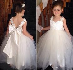 2015 Flower Girls Dresses with Straps Sweetheart Wedding Bridal Daughter's Princess Gowns Little Bride Cheap Flower Girls' Dresses with Bow, $82.73 from andybridal on m.dhgate.com | DHgate Mobile