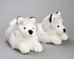 Husky Dog Slippers: Cute and cozy Siberian husky slippers! Makes a great gift.