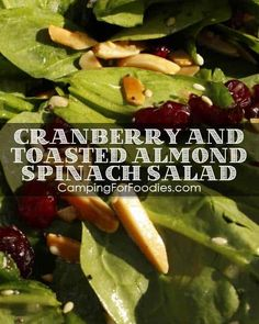This Cranberry And Toasted Almond Spinach Salad Camp Recipe is quick, easy and a real crowd pleaser. You can make the dressing in advance and refrigerate up to 2 days! Get more camping tips and RV hacks from CampingForFoodies. #camping #camp #RV #tips #hacks #CampingForFoodies #Thanksgiving #recipes Camping Meals, Camping Recipes, Easy Recipes, Camping Hacks, Backpacking Food, Rv Hacks, Tent Camping, Outdoor Camping, Easy Thanksgiving Sides