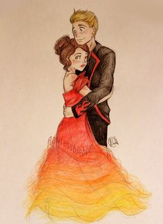 Katniss and peeta. Cool drawing :)