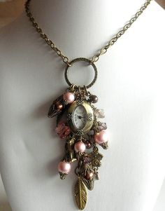 Gypsy Necklace Romantic Vintage Watch Charm Necklace Charm Cluster Necklace Gypsy Jewelry