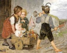 The Toy Barrow-Agathe Rostel German. with toys William Adolphe Bouguereau, Pierre Auguste Renoir, Parlor Games, Amber Tree, Childhood Games, Art Themes, Beautiful Artwork, Art Images, Cute Kids