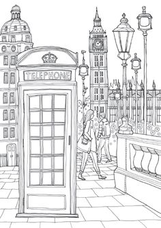 Coloring Europe Charming London I Waves of Color is part of Adult coloring page - Coloring Book Pages, Printable Coloring Pages, Coloring Sheets, Doodle Coloring, London Drawing, Buch Design, Painting & Drawing, Art Drawings, Drawing Sketches