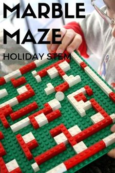 LEGO Christmas Marble Maze STEAM Christmas Countdown. Holiday STEM activity. LEGO activity for kids. A marble maze is good for visual processing skills, fine motor skills, and motor planning skills. by olga