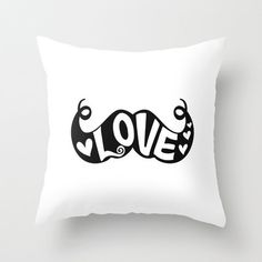 Mustache Love Throw Pillow by Zen and Chic