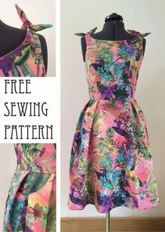 Free sewing pattern for women. 50s style dress. Made here is scuba fabric with cute little knotted shoulder ties. Have a look at the blog post for full details and tutorial