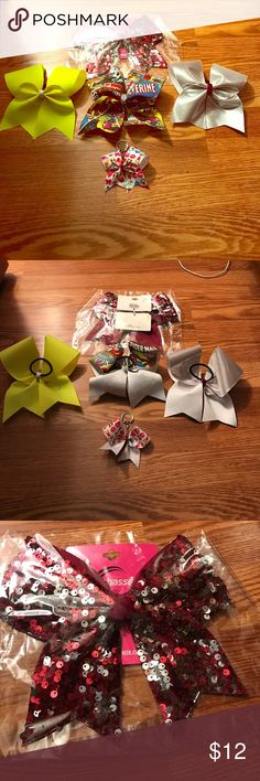 Bundle of NWOT Cheer Bows These hair bows are perfect for cheer, dance, or Jojo Siwa fans. One bow is NWT and has maroon and silver sequins. The other three are NWOT. One is yellow with white, one is silver with pink, one is superhero themed, and one is an emoji now keychain. All have never been worn and are super cute! Ship same or next day from a smoke free home. Accessories Hair Accessories