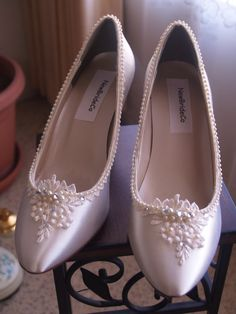 Ivory Victorian Satin Shoes Classic Pumps with adornments of lace pearls & crystals, edwardian, Great Gatsby, romantic satin heels, pointy How To Dye Shoes, Wedding Pumps, Bright Dress, Satin Shoes, Classic Pumps, Ivory Wedding, Shoe Size Chart, Shoe Collection, Pump Shoes