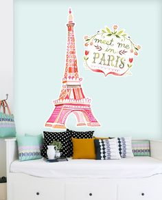 "... FREE shipping thru 12/30 at Oopsy Daisy, @Jackie Vekich Art + Culture , and @Wheatpaste Art Collective Art Collective . ""Meet Me In Paris"" Wall Decals ..."