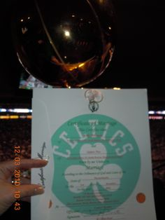 Celtics Certificate of Marriage that I made for the Bride and Groom and Trophy.