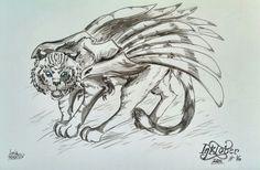 """Day 16: My OC """"Fiera"""", it's a zerfeles (winged feline); for #INKtober 2014."""