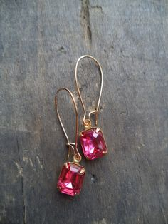 Vintage Earrings Glass Dangles Pink Accessories by SPARKLESandSASS