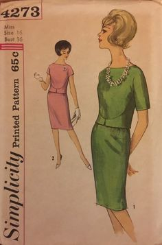 VTG 4273 Simplicity early 1960s Jackie O two by ThePatternParlor