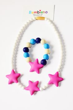 Bambiano Nicole Jr Necklace and Bracelet Gift Set  in Hot Pink. Bambiano Jr Necklaces  and bracelets are made of 100% Food grade silicone. BPA free, Lead free and nontoxic. Fashionable for trendy girls 3 years and above. Necklaces are colourful, washable and soft against the skin. Shop at www.bambiano.com