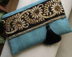 Sky blue bohemian clutch, Bohemian Clutch, Boho Bag, Fashion Bag, Woman handbag, gift for her, Clutch purse, Ethnic Clutch, Handmade gift