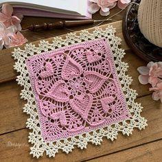 Draiguna: Sweetheart Square- Alternate Border Crochet Blocks, Crochet Squares, Crochet Motif, Free Crochet, Granny Squares, Square Patterns, Doily Patterns, Crochet Patterns, Half Double Crochet