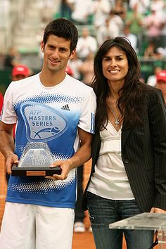 Gabriela Sabatini with Novak Djokovic Atp Tennis, Tennis Gear, Sport Tennis, Motogp, Bmx, 1988 Olympics, St Etienne, Tennis Photos, Tennis Legends