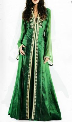Green Long Sleeved Caftan Maxi Dress robe Caftan Kaftan Dubai Dress maxi Soirée Marocain moroccan kleid fiançailles wedding قفطان €314,24