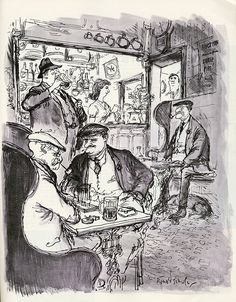Ronald Searle - In Quest of Beer by Frank O'Connor, Holiday magazine 1957.