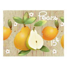Pears Fruit Botanical Floral Garden Postcard - postcard post card postcards unique diy cyo customize personalize